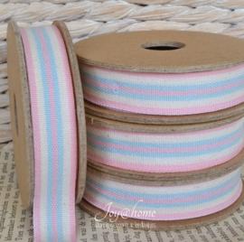 Kartonnen spoel met lint. Roze, blauw & offwhite gestreept