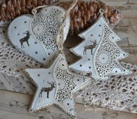 Metalen kerstboom, hartje of ster met rendier