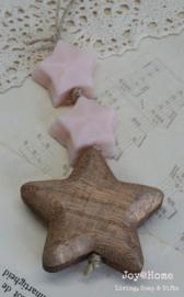 Hanger hout oudgoud met zeepsterretjes in vele kleurtjes