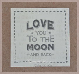 Vintage sticker Love you to the moon and back