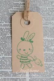 Label konijntje meisje in 7 kleuren