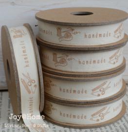Kartonnen spoel met lint. Handmade, offwhite/bruin