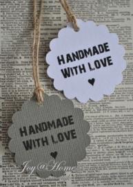 Label bloem Handmade with love ♥ in vele kleurtjes