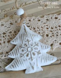Kerstboom zink wit/goud met kraal
