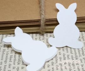 Label konijn in vele kleurtjes & afm. met of zonder touwtje & tekst