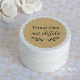 Potje handcrème met olijfolie