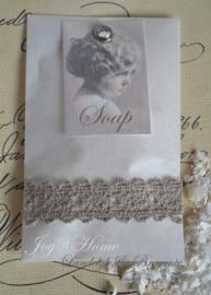 Pergamijn zeepzakje vintage met splitpen & label met tekst