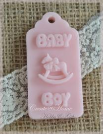 Zeepjes label Baby boy hobbelpaard. Per 5