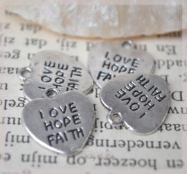 Bedeltje zilverkleur, love hope faith