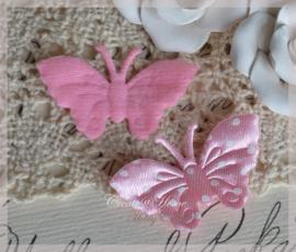 Vlinder satijn, lichtroze - wit