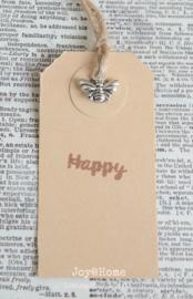 Label bee (bij) happy in 6 kleuren
