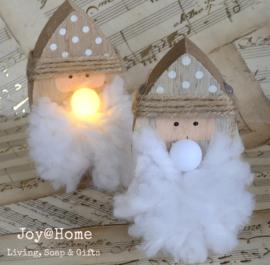 Houten kerstman met ledneus