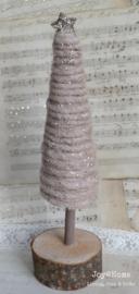 Kerstboom vintage roze met glitter ster