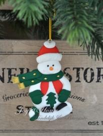 Kersthanger sneeuwpop met kerstboompje