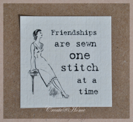 Vintage sticker Friendships are sewn one stitch at a time
