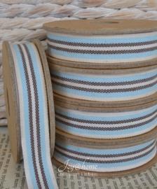 Kartonnen spoel met lint. Offwhite, blauw & bruin gestreept