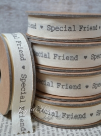 Kartonnen spoel met lint. Special friend, offwhite/grijs