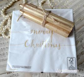 Servetten Merry Christmas met 3 kaarsen