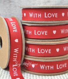 Kartonnen spoel met lint. With love, rood/wit