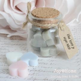 Glazen potje, zeephartjes en label eigen tekst in vele kleurtjes