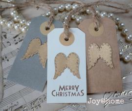Label Merry Christmas met engel vleugels