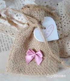 Jute zakje lavendel met hartje, stempel & strikje naar keuze