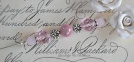 Brocante hoedenspeld zilver/roze
