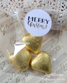 Zakje  met chocolade hartjes & kerststicker