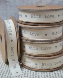 Kartonnen spoel met lint. With love, offwhite/grijs