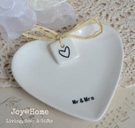 Zeepschaaltje hart Mr & Mrs