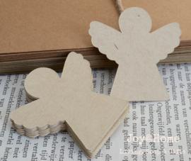 Label engel in vele kleurtjes & afm. met of zonder touwtje & tekst