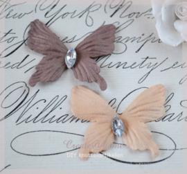 Vlinder diamantje, bruin - zalm