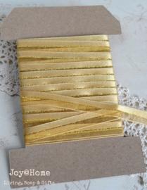 Kaartje met lint, organza goud glitters