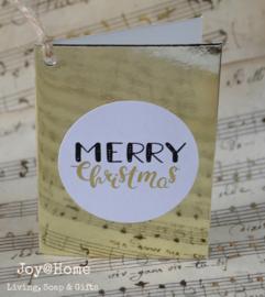 Kaartje goud met sticker Merry Christmas