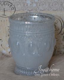 Windlichtje melkglas parelmoer