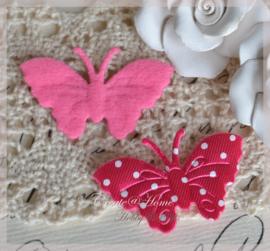 Vlinder satijn, fuchsia - wit