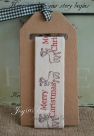 Kartonnen spoel met lint, Merry Christmas & rendier