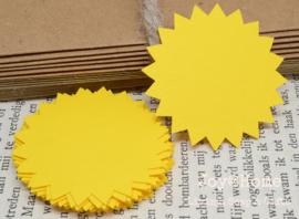 Label zon in vele kleurtjes & afm. met of zonder touwtje & tekst