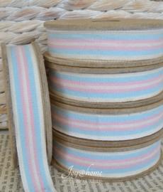 Kartonnen spoel met lint. Blauw, roze & offwhite gestreept