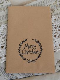 Kraft loonzakje met kerststempel, keuze uit 16
