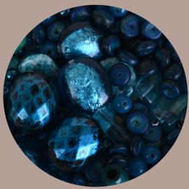Kralen mix, petroleum blauw