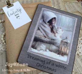 Tekstbordje nostalgische kerstfoto in een zakje met klem & kaartje