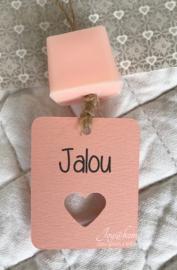 Label eigen tekst & zeepblokje in vele kleurtjes