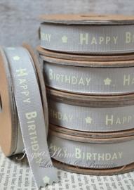 Kartonnen spoel met lint. Happy birthday, grijs/crème