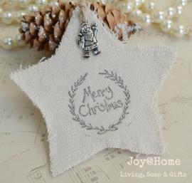 Linnen ster met stempel Merry Christmas in 4 kleuren