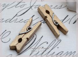 Knijper hout, goud