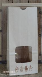 Theezakje kraft met stempel theepotten in 5 kleuren