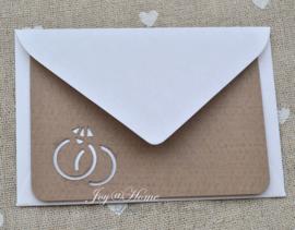 Envelopje met kaartje & trouwringen in vele kleuren