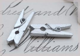 Knijper hout, zilver