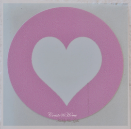 Sticker hartje roze/wit